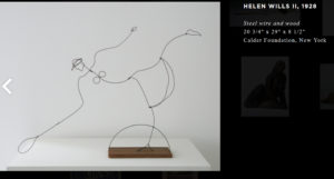"Calder's ""Helen Wills II"" uses deception by drawing a figure in wire that is about line and form, not representation."